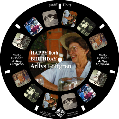 Custom reels make fun 80th birthday favors