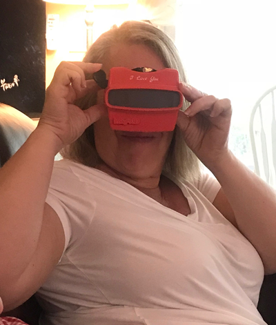 Happy mom with a custom RetroViewer