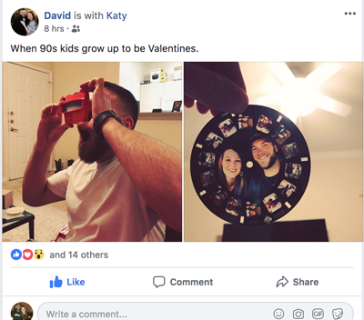 Katy gives her fiance a customized RetroViewer gift on Valentine's Day