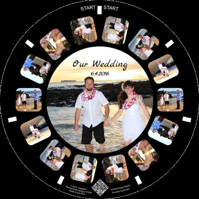 A destination wedding announcement with a RetroViewer