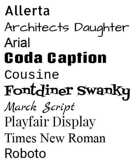 Viewer Imprint Font Choices