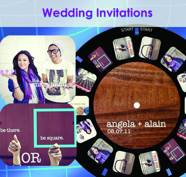 Wedding invitations on a custom reel