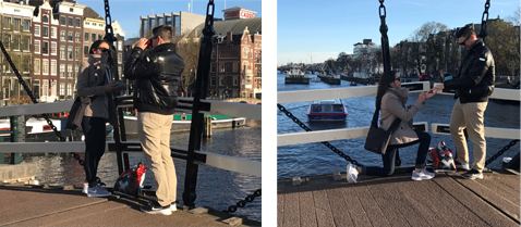 Amanda's proposal with a custom RetroViewer on the Magere Brug in Amsterdam
