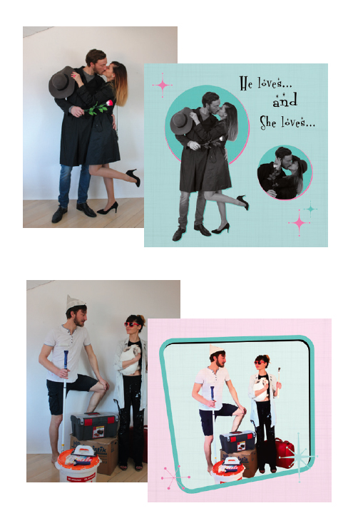 Yvonne & Daniel make fun photos for the customized RetroViewer wedding invitations